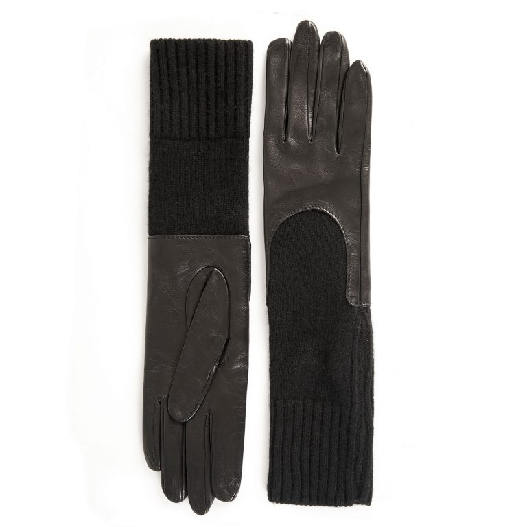 Women's unlined black sheepskin gloves with medium-lenght cashmere sleeve
