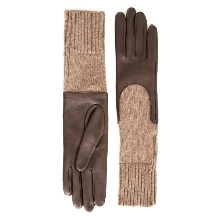 Women's unlined mud sheepskin gloves with medium-lenght cashmere sleeve