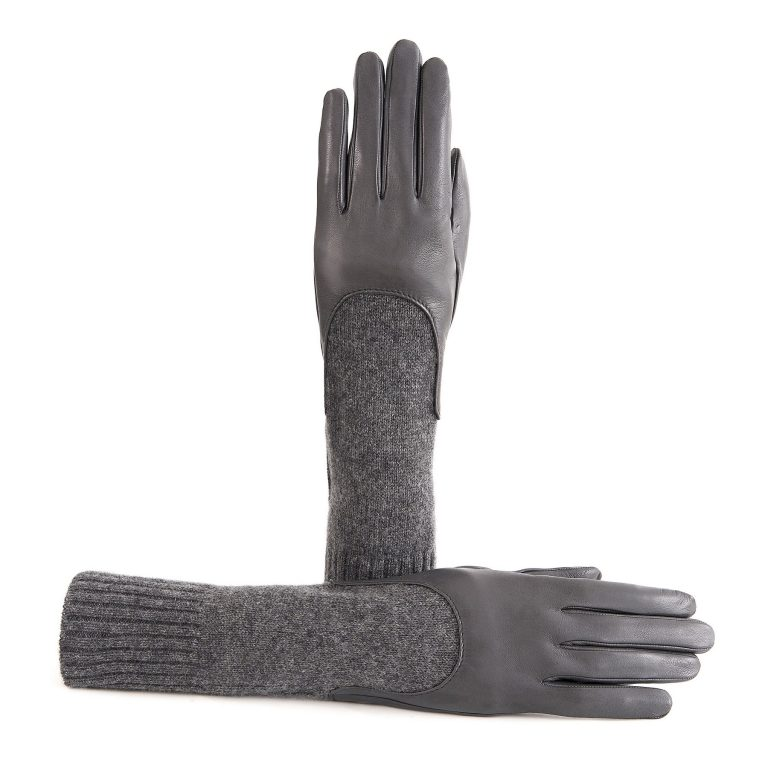 Women's unlined grey sheepskin gloves with medium-lenght cashmere sleeve