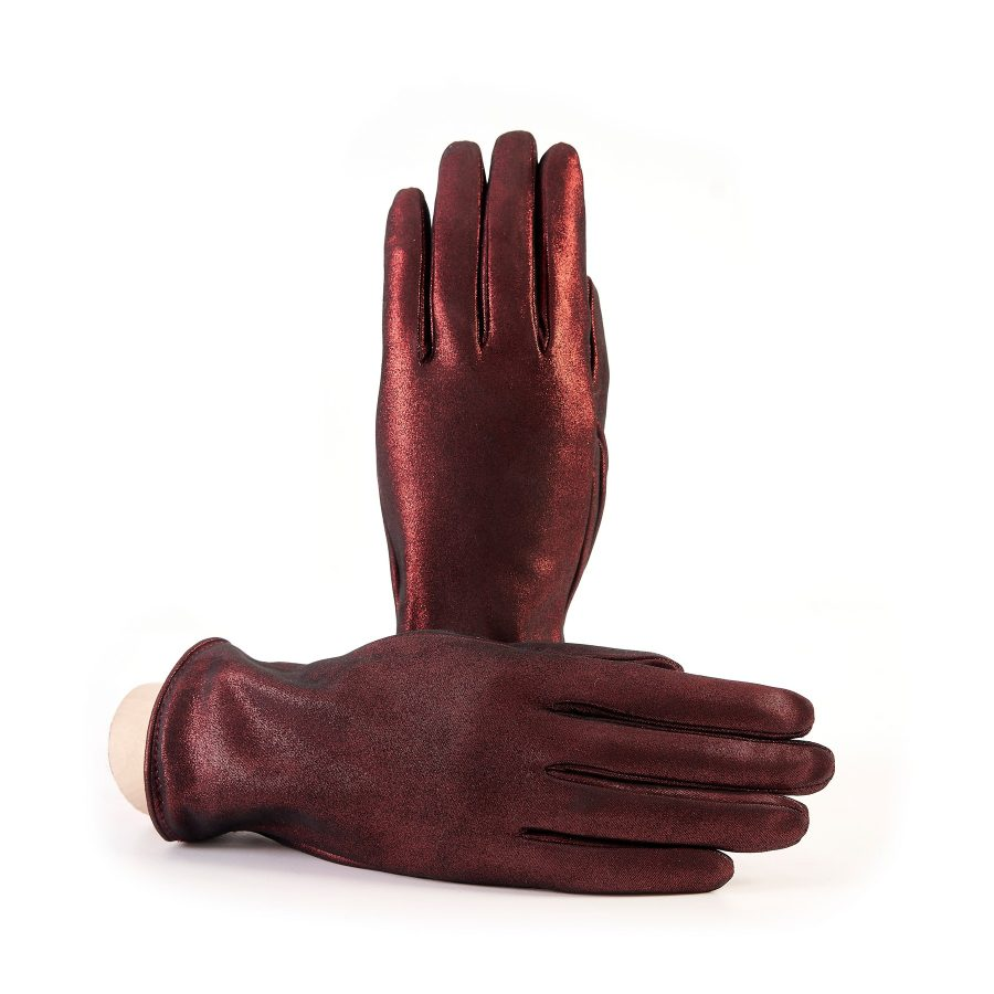 Women's basic red soft laminated suede leather gloves with palm opening and mix cashmere lining