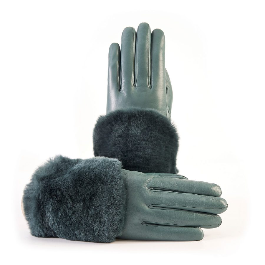 Women's green nappa leather gloves with a wide real fur panel on the top and cashmere lined