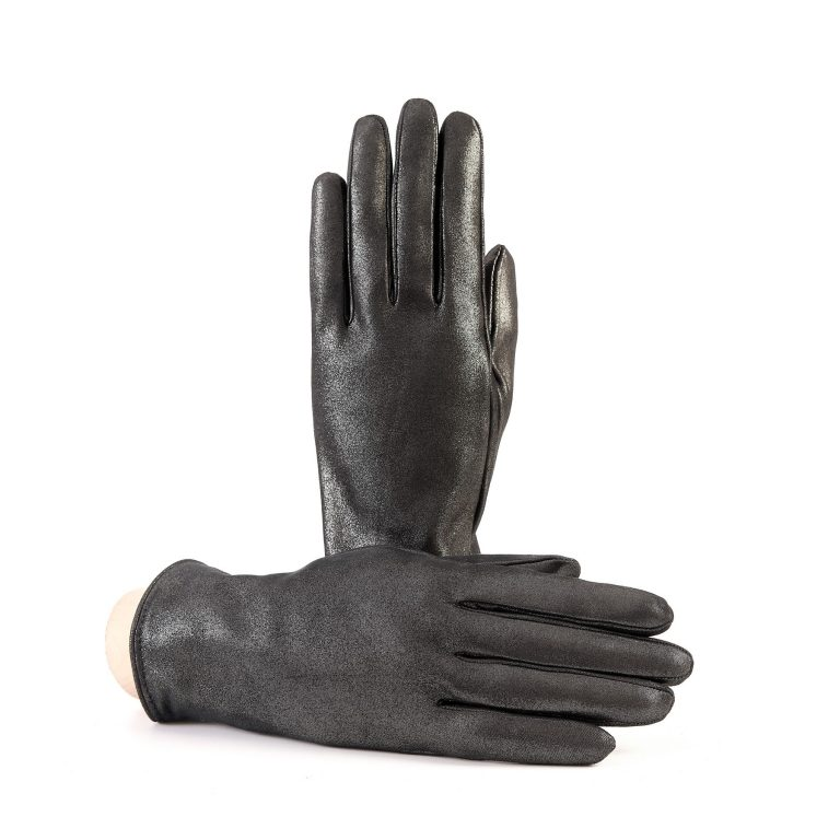 Women's basic grey soft laminated suede leather gloves with palm opening and mix cashmere lining