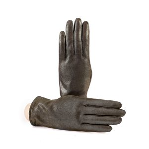 Women's basic gold soft laminated suede leather gloves with palm opening and mix cashmere lining