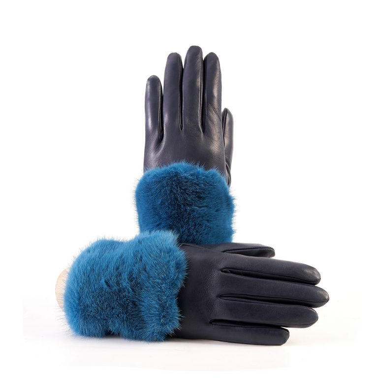 Women's blue marine nappa leather gloves with a wide real fur panel on the top and cashmere lined