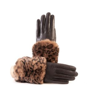 Women's brown nappa leather gloves with a printed leo wide real fur panel on the top and cashmere lined