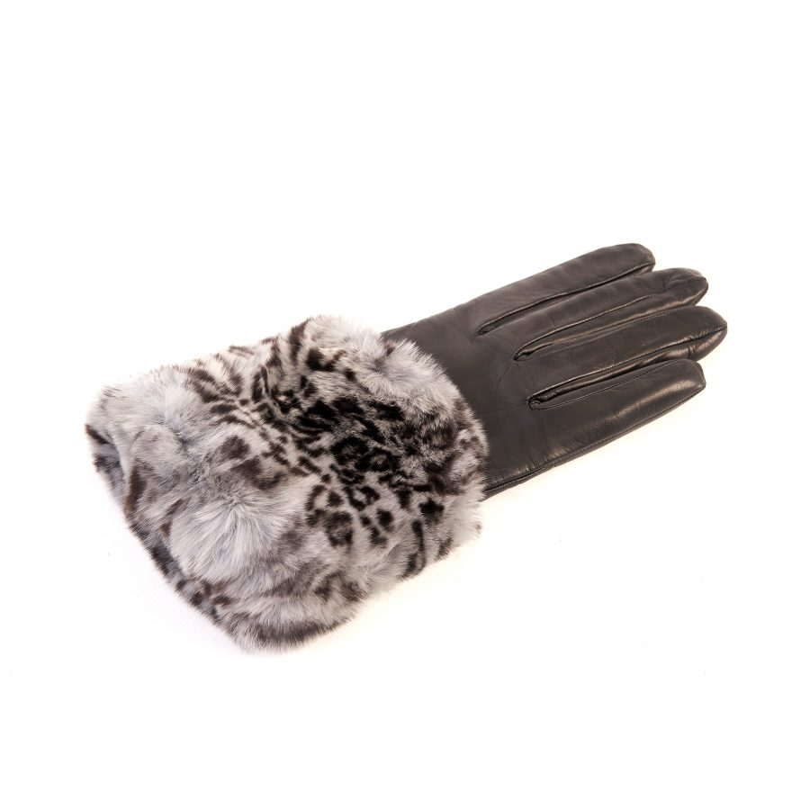Women's black nappa leather gloves with a printed leo wide real fur panel on the top and cashmere lined