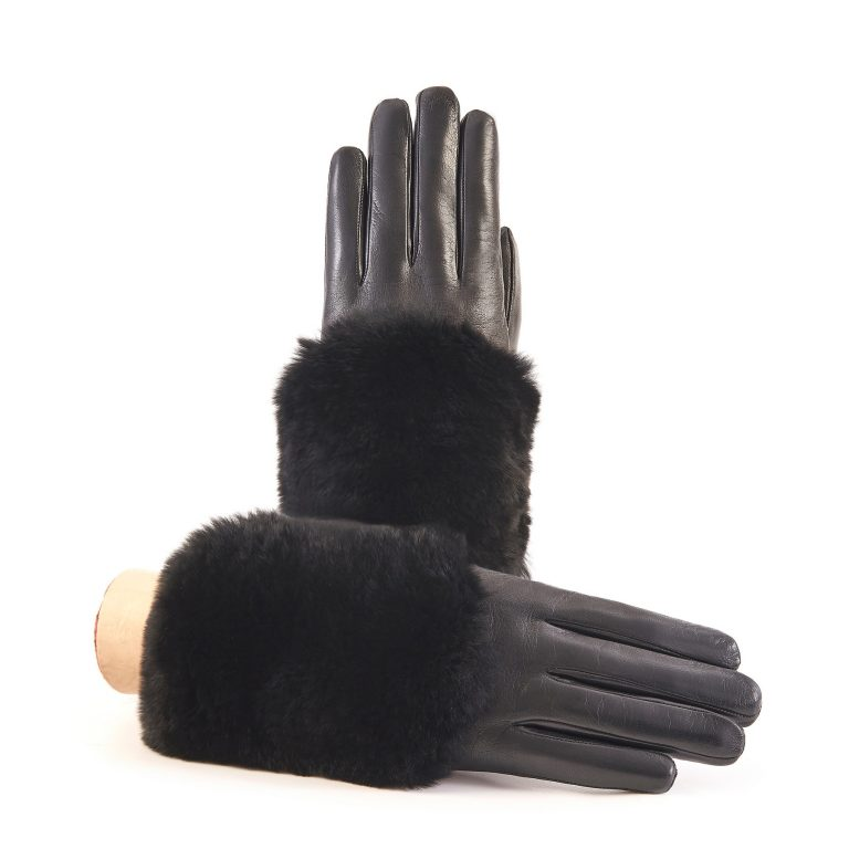 Women's black nappa leather gloves with a wide real fur panel on the top and cashmere lined