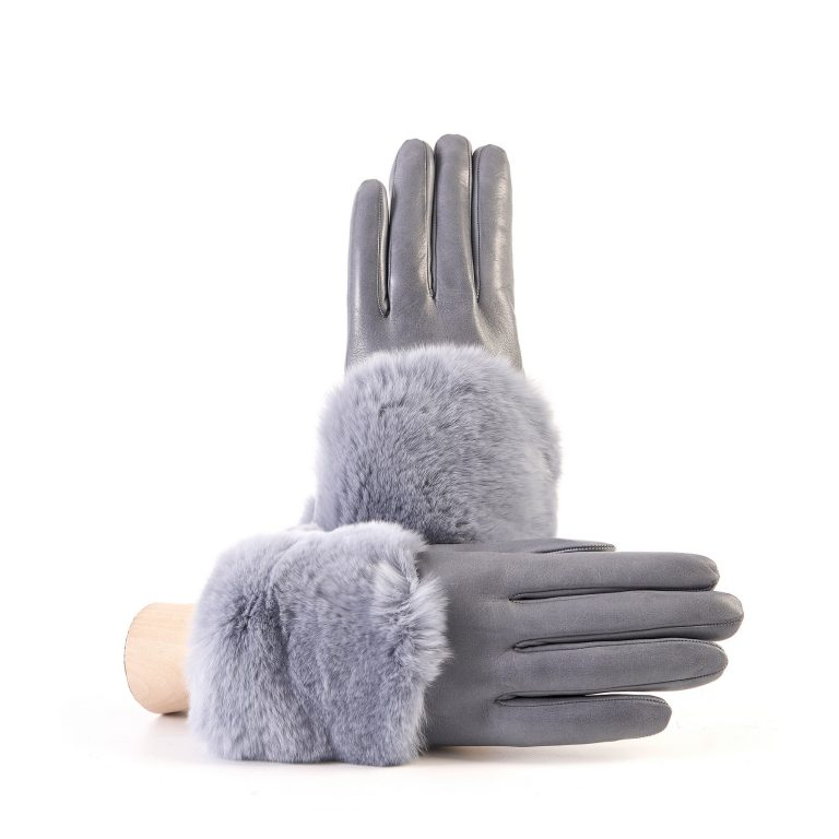 Women's grey nappa leather gloves with a wide real fur panel on the top and cashmere lined