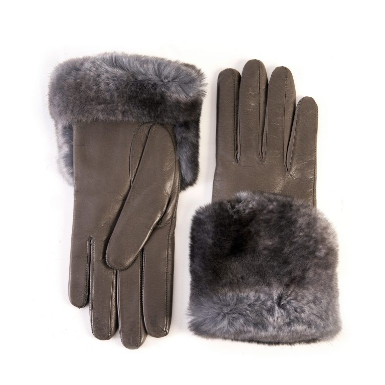 Women's mud nappa leather gloves with a wide real fur panel on the top and cashmere lined