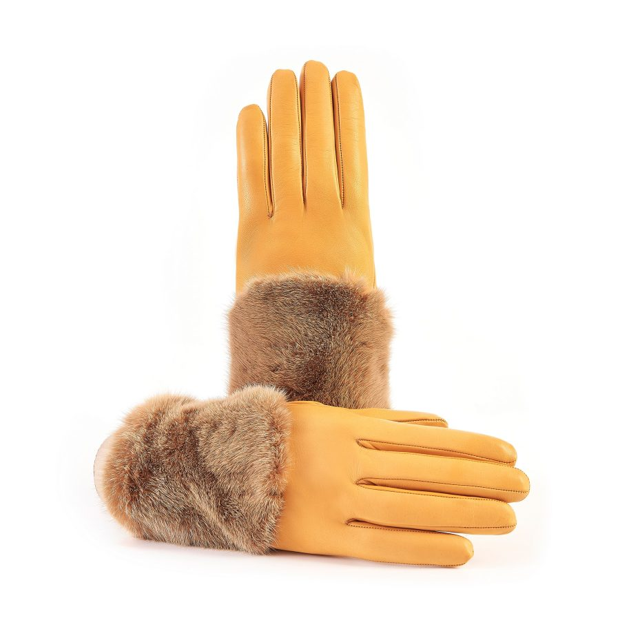Women's yellow nappa leather gloves with a wide real fur panel on the top and cashmere lined