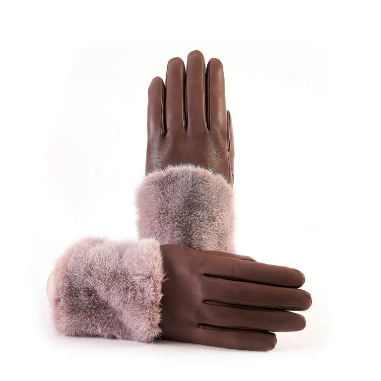 Women's chocolate nappa leather gloves with a wide real fur panel on the top and cashmere lined