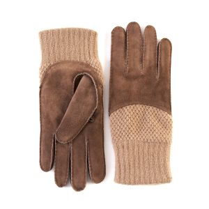 Men's hand-stitched brown suede gloves with cashmere top and lining