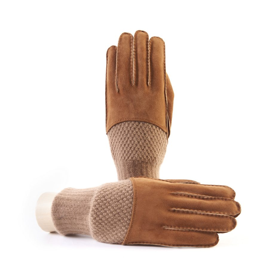 Men's hand-stitched tobacco suede gloves with cashmere top and lining