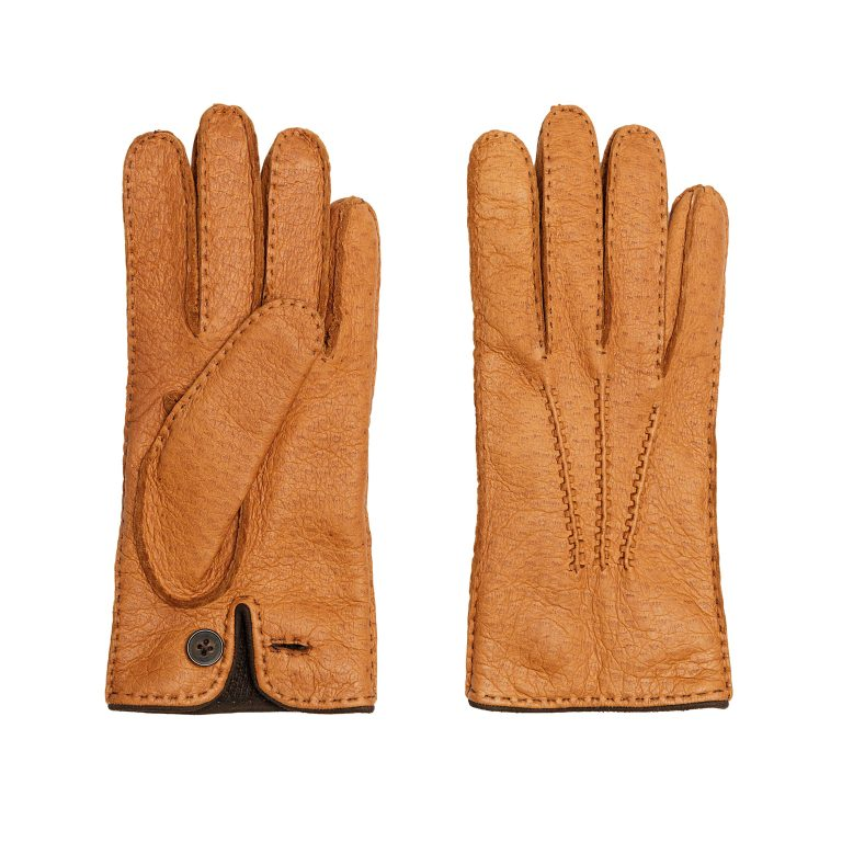 Men's corck peccary leather gloves cashmere lined